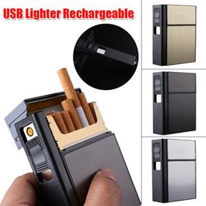 Creative 20 Metal Cigarette Case Caja de almacenamiento de tabaco con encendedor USB a prueba de viento recargable 3 colores DHL gratis