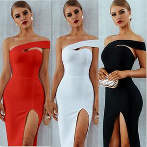 Abiti Adyce Bodycon del vestito dalla fasciatura delle donne Vestiti sexy Estate Elegante Bianco Nero una spalla Midi partito della celebrità