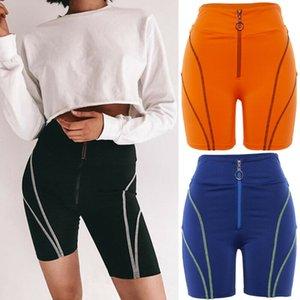 Fashion Damen Feste Laufen Outdoor Fitness-dünne Shorts Frauen Push Up Zipper Fly High Waist Slim Fit Sport-verursachende Shorts
