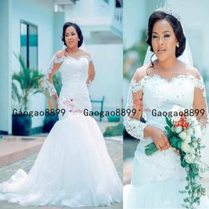 2020 chute africaine Nigeria sirène robes de mariée manches longues Encolure cristal perlé balayage train sur mesure Taille Plus formelle des robes de mariée