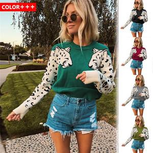 Leopard Impressão colorido camisola Womens O Neck manga comprida de lã de Inverno Ladies Vestuário Mulheres Sweater Designer