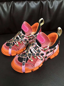 Zapatos de diseño 2019 Trend New Listing Hombre Calzado de lujo Casual para mujer Aumento de altura Zapatos para caminar al aire libre Flashtrek Crystas extraíbles
