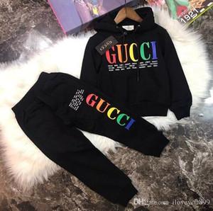 Nueva marca de diseñador Baby Autumn Clothes Set Kids Boy Girl Sudadera con capucha de manga larga Top + Pantalones 2 piezas Trajes Moda Chándal