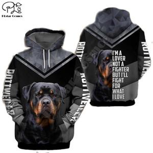 Unisex Mens Rottweiler cane 3D stampare felpe cerniera autunno Felpe lungo manicotto donne pullover cappuccio tuta primavera outwear