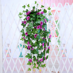1 unid Artificial Morning Glory Vine Hanging Wall Plant Garland Fake Garden Wall Fence Window Greenery Leaf Artificial Plants Decor