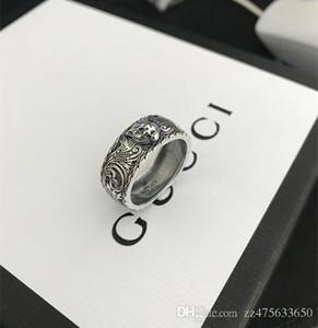 Vintage 925 Sterlingsilber gg Ringe 3D-schwarz-Tiger-Kopf Unique Animal Ring für Mann-Frauen-Radfahrer-Punk Schmuck Marke Liebhaber Geschenk Luxus