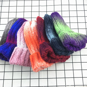 Arco-íris elástico Gradient Knit Hat Moda Quente Orelha Muffs Cap Beanie Coreano Moda Feminina Ao Ar Livre Viagens Cap Ski TTA1683
