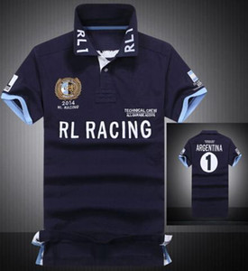 Men Casual Polo Shirts Big Pony Embroidery Country Flag T-Shirt Spain Italia United States Argentina Brazil GBR UAE UK Racing Polos