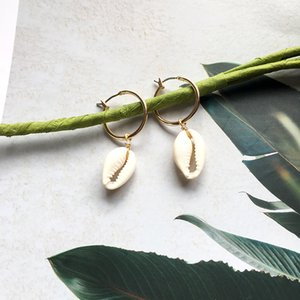 Summer Natural Sea Shell Hoop Earrings For Women Big Ear Ring Gold Hoops Earring Beach Bohemia Jewelry gift