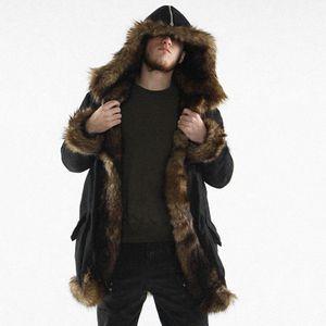 2019 Mens Warm Plus Épaississement Long Manteau Veste Fausse Fourrure Parka Outwear Plus Mode Épais Long Manteau Outwear Veste À Capuche