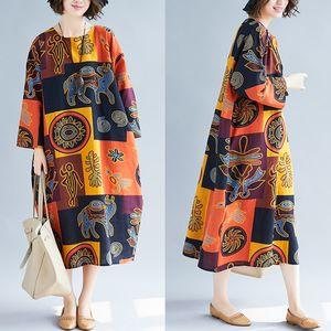 Boxi etnik yağ MM büyük boy elbise keten 2020 Elbise milliyet Grup etnik tarzı baskı pamuk