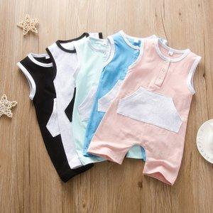 5 цветов лета ребёнков мальчиков Одежда хлопка рукавов Карманный ползунки МЛАДЕНЦЕВ Комбинезон Soft Одежда для новорожденных M2170
