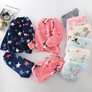 Children Flannel Pajamas Kids Toddler Boys Girls PJS Thick Warm Top and Pants Sets 2019 Fall Autumn Winter Sleepwear Nightwear Y200704
