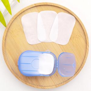 20 pc / insieme monouso Boxed sapone di carta di Aromatherapy portatile lavaggio a mano Bath Travel Mini Soap Box Soap Base Accessori Bagno all'ingrosso