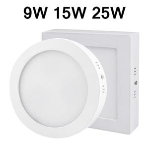 CA 85-265V 9W 15W 25W La superficie montó el downlight llevado regulable llevó la luz del panel de techo SMD2835 círculo ultra delgada para cocina lámpara de baño