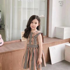 2020 vestido de verano de las muchachas de los bebés infantil de manga corta franja de impresión vestidos de ropa de vestir fiesta de la princesa