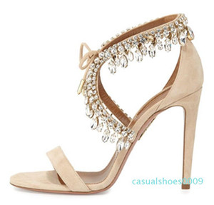 Luxury Designer Summer Fashion Sandals Elegant Crystal Bridal Wedding Shoes Lace Up Rhinestone Sandals Women's High Heels c09
