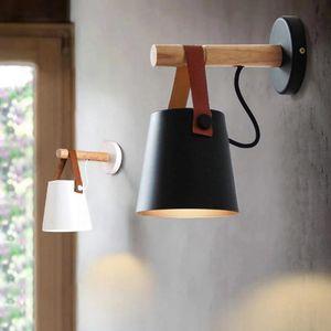 LED Lámparas de pared para sala de estar apliques de la pared de la luz E27 nórdica de madera Cinturón luz de la cama de noche E27 Pantalla Decoración