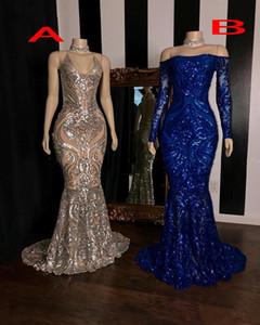 Pırıltılı payetli Gümüş Denizkızı Afrika Gelinlik 2020 Royal Blue Uzun Kollu Mezuniyet Örgün Giydirme Plus Size Abiye Giyim