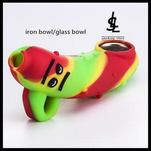 Kuru Bitkisel 4,3 inç Tütün Sigara Kaşık Boruları İçin Metal Demir Bowl Cam Gözlü Mini Silikon El Boru