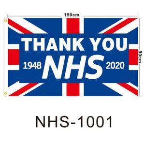 Merci NHS Drapeau du Royaume-Uni Le Royaume-Uni arc-en-2020 Lettre Imprimé 90 * 150cm Polyester Accueil Bannière Drapeaux LJJO7928
