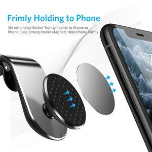 Smartphone için L-Tipi Araç Montaj Cep Telefonu Tutucu Güncelleme Alüminyum Alaşım Hava Firar Manyetik Tutucu 360 Derece Dönme Parantez Pano Standı