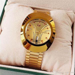 Brillante caliente de la manera de oro para mujer lujosa joyería del diamante del reloj mecánico automático de acero inoxidable Dial de Oro Designe elegante Relojes Noble