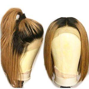 New Sexy Two Tones Ombre Brown Short Bob Hair Resistente al calore Fibre Radici scure Parrucche anteriori in pizzo sintetico per donne nere Parte centrale