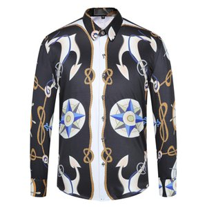 Blind Placket Floral Shirt Men Patch Pocket Flroal Mens Button short Shirt Slim Fit Chemise Homme Manche Longue Club Outfit