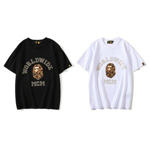 Bape Mens StylistT Рубашка мужская Горячие бурильные Короткие рукава Пары хлопка высокого качества тройники 2 цвета M-3XL