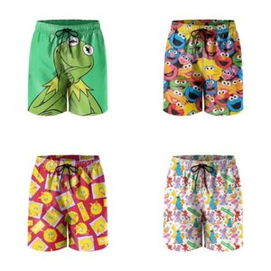 Mens Swim Trunks Kermit the Frog Thinking SportsJogger Shorts Beach Board Funny Swimwear Sesame Street Avatar Stacking big bird red elmo