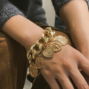 2019 Fashion Bohemian Círculo Grosso cadeia de borla pingente pulseira Bangle Punk Esculpido Coin Bracelet Coração Mulheres Jóias