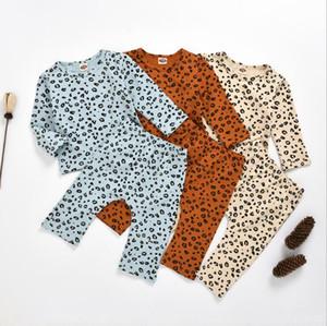 아동 의류 아기 레오파드 프린트 스웨터 의류 여름 소녀 긴 소매 셔츠 바지 정장 봄 Payamas이지웨어 Sleepsuits PY639을 설정합니다