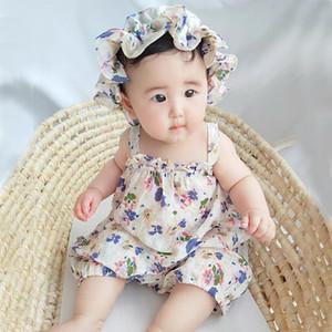 Facejoyous 0-24М новорожденных Baby Girl Bodysuit Цветочный ремень Комбинезон без рукавов женский пляжный костюм с шлемом Летняя одежда Нижнее