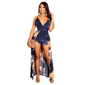 European and American hot sale women's summer new temperament wild sexy deep V-neck print lace-up bare back jumpsuit