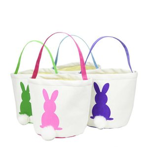 On Sale 4 Colors 2019 New Easter Rabbit Basket Easter Bunny Bags Rabbit Printed Canvas Tote Bag Egg Candies Baskets