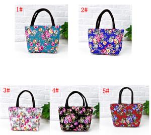 Floreale etnica singola borsa Canvas Shoulder Bag Fiore Donne riutilizzabili Portable Shopping Bags sacchetti pranzo FFA3701