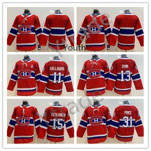 Jugend Montreal Canadiens Jerseys Hockey Kinder 15 Jesperi Kotkaniemi 11 Brendan Gallagher 13 Max Domi Carey Price Trikots Red genähtes