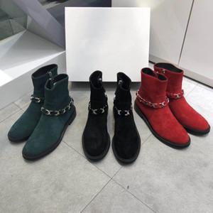 Горячие продажи-Новая женская одежда Дизайнерская обувь Цепные туфли Размер 35-40 Кожа на молнии Star Fashion Кожаные короткие осенние и зимние ботильоны