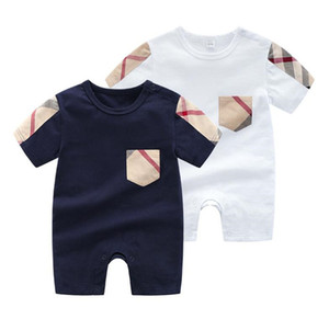 Moda verão bebê meninas macacões design kids o-pescoço manga curta jumpsuits infantil meninas algodão romper menino roupa A105