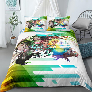 New quilt cover 1.5M three-piece bedding set, boy and girl quilt cover, girl bedroom bed cover, anime style pattern printing