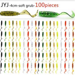100 stücke Weichplastik künstliche isca pesca kreis schwanz protein Grub locken fischen wurm moggot grub locken köder 4 cm