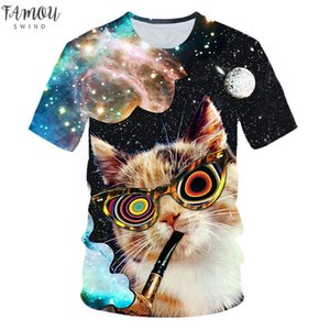 2020 New Galaxy Space 3D T Shirt Lovely Kitten Cat Eat Taco Pizza Funny Tops Tee Short Sleeve Summer Polyester Shirts