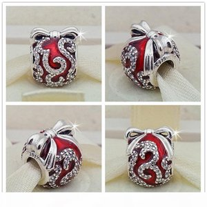 2017 New 100% S925 Sterling Silver Bright Ornament Charm Bead with Red Enamel Fits European Pandora Jewelry Bracelets