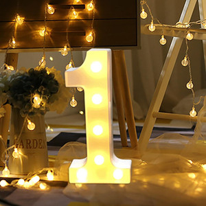 Alphabet Zahl Digital-Brief LED-Licht weißes Licht-Up Dekoration Symbol Indoor-Wand-Dekor Hochzeit Auslage Licht