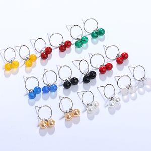 B natürliche Achat-Ohr-Bolzen-S925 Sterling Silber Jade Perle Chalcedon Ohrringe Frauen Net Red Cherry Frische Ohrringe Großhandel MOQ1