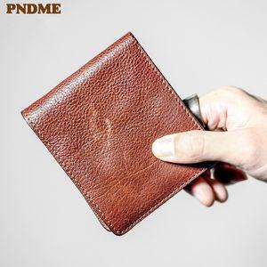 Portafoglio in vera pelle PNDME PNDME PNDME Vintage Vintage Casual Casual High Quality Soft Bowhide Credito Sottile ID Breve Portafoglio Scheda Simple VNGQA