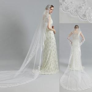 11057 - Beyaz Fildişi Gelin Tül Veils Düğün Gelin 3m Nişan Aksesuarları için hiç Tarak Pullarda Dantel 1 Katman Katedrali Güzel Veil