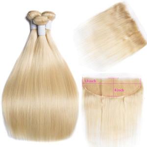 Straight Hair Blonde Bundles with Closure 8-26 inch 613 Bundles with Closure Maxine Remy Human Hair