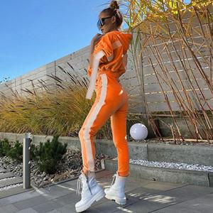 مقنعين رياضية مطاطا الشريط اثنان من قطعة سروال لون التباين إمرأة مصمم أزياء رياضية معرف كم طويل